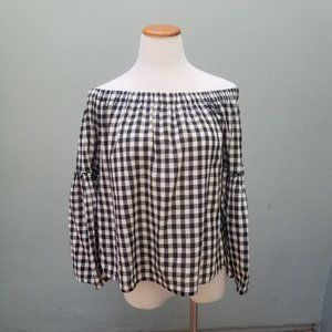 Who What Wear Gingham Off Shoulder Blouse Medium